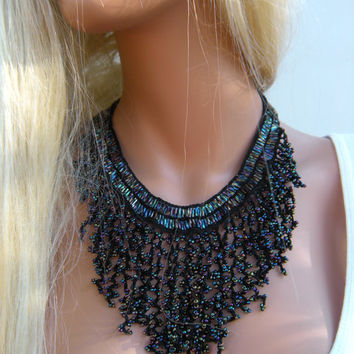 Midnight Lights, Hand crocheted cascade necklace Black irridescent with lots of colors One of a kind,