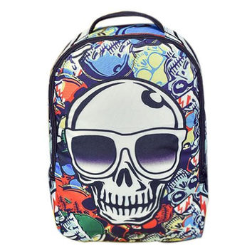 Backpack With Color Splicing and Skull Pattern Design