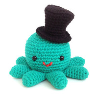 Hector the Octopus has a Hat - Cute Crochet Amigurumi Stuffed Animal Plush with Top Hat