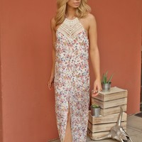 West Coast Wardrobe  California Poppy Maxi Dress with Crochet Neck in Floral