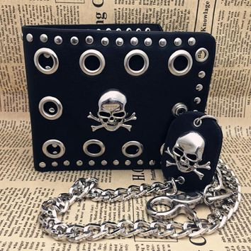 Wallet Punk Gothic Skull Head Chain Purses Credit Card Pocket Money Bag Vintage Punk PU Leather