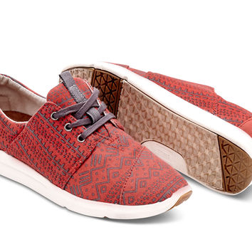 RED CANVAS TRIBAL WOMEN'S DEL REY SNEAKERS