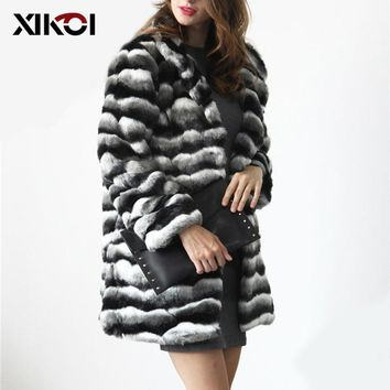 XIKOI Vintage Fluffy Faux Fur Coat Women Long Furry Fake Fur Winter Outerwear Striped Coat 2018 Autumn Casual Party Overcoat