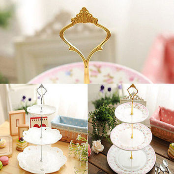 1set 3 or 2 Tier Cake Plate Stand Handle Fitting Hardware Rod Plate Stand HU