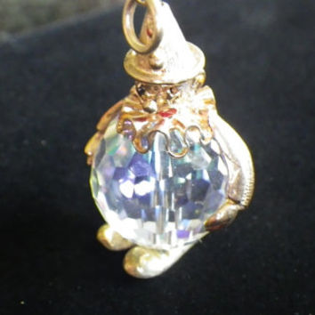 Vintage 9ct Yellow Gold & Crystal Clown Charm Pendant