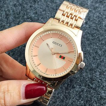 GUCCI Ladies Men Quartz Watches Business Wrist Watch Rose Gold I-Fushida-8899