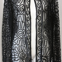 "Vintage black net lace soutache  jacket  scroll work on net  long avant garde Bust 48"" plus size"