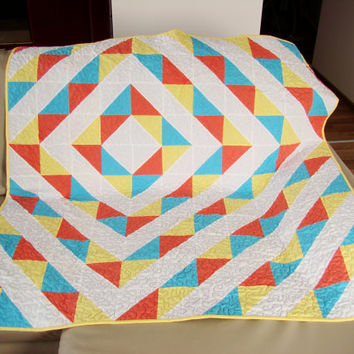 Quilt. Modern Quilt. Homemade quilt. Kid, baby, toddler quilt. Lap Quilt. Yellow, blue, coral. Ready to ship.