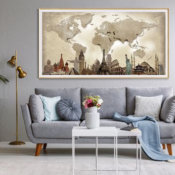 World Map Wall Art, Large Poster, Adventure Push Pin Travel Map, Soft Color Decoration Object -L23