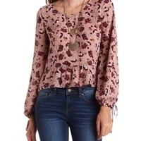 Ivory Combo Ruffled Floral Print Long Sleeve Top by Charlotte Russe