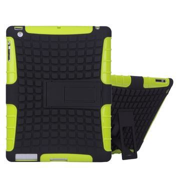 Case for ipad 2 3 4 Heavy Duty Case Stand Silicone Slip Kids Safe Shockproof Stand Case Green free Screen film Stylus Cloth