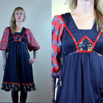 70s Young Edwardian Patchwork Side Tie Back Peasant Dress