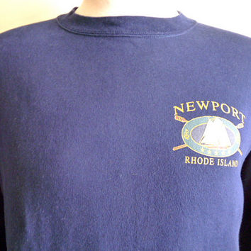 vintage 90's Newport Rhode Island travel souvenir graphic sweatshirt, men women unisex navy blue fleece pullover, nautical sail boat illustr