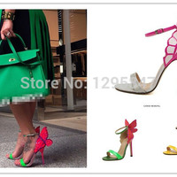 Explosion Models 2014 NEW Women  Sophia Webster Colorful Butterfly Heeled Sandals Pumps 10cm Thin Heel Peep Toe Shoes