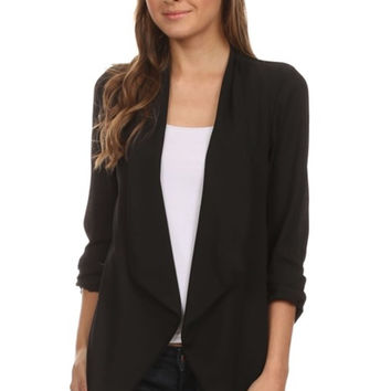 Draped Long Sleeve Open Front Blazer