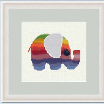 Elephant rainbow II  -  PDF cross stitch pattern - Instant download