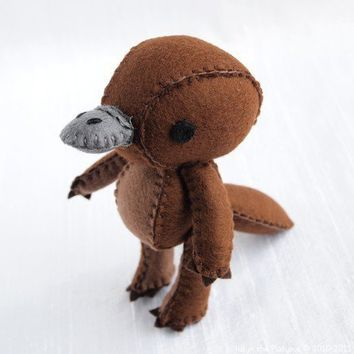 Halyn the Platypus Wool Felt Plush Art Doll by nonesuchgarden