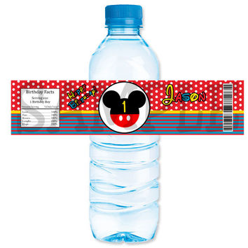 Mickey Mouse inspired water bottle label. Birthday party. Custom Digital file