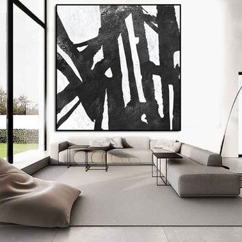 Large Abstract Painting, extra large wall art painting on canvas, black and white painting on canvas, acrylic painting, modern wall art