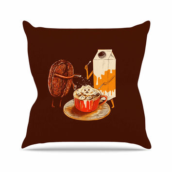 "BarmalisiRTB ""Latte Art"" Red Illustration Outdoor Throw Pillow"