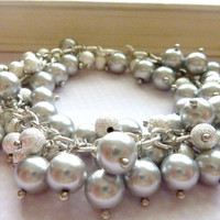 Cluster bracelet silver gray pearls stardust bracelet bright silver crystals