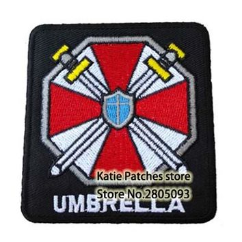 Umbrella Corporation Logo Iron On Patch, Horror Game Resident Evil Fabric Badge, Punk Jacket DIY Clothing Accessories