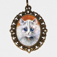 White Cat Necklace, Cat Jewelry, Kitty Cat, Louis Wain Cats, Oval Pendant