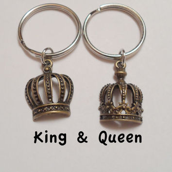 Couple Keychain Set, King and Queen Crown Key Ring Set, Husband and Wife, Girlfriend and Boyfriend, Monogram Initial Option