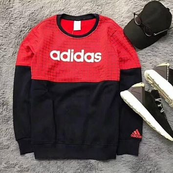 """Multi-color """"Adidas"""" Tartan Letter and Logo Print Long Sleeve Sweater Red"""