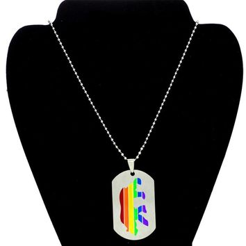 Gay Pride Anime Bear Design Rainbow Dog Tag Men's LGBT Necklace Stainless Steel Best Friends Fashion Jewelry Silver Beaded Chain