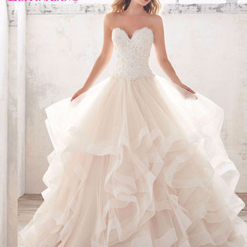 2017 Princess Wedding Dresses Strapless Backless Ball Gown Natural Elegant Vestidos de Novias Robe De Mariage Solemn Custom Made