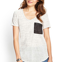 LOVE 21 Marled Zip Pocket Tee