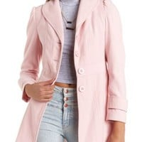 Bow-Back Button-Up Walker Coat by Charlotte Russe - Pink