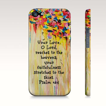 Your Love O Lord- iPhone 4 4S 5 5S 5C 6 Hard Case Rainbow Yellow Orange Red Christian Psalm Rainy Clouds Abstract Scripture Biblical Verse