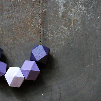 Lavender, Purple and Lilac Geometric Wood Necklace - Boho Necklace - Everyday