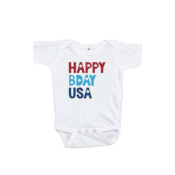 Custom Party Shop Kids Happy Bday USA 4th of July Onepiece