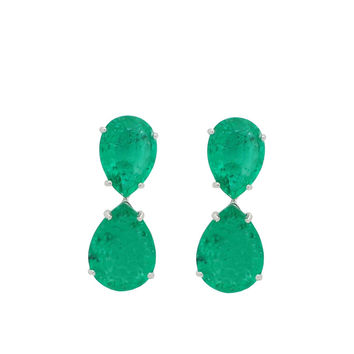 Small Almond Emerald Drop Earrings | Sterling Silver by Fronay
