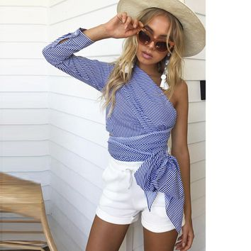 One Shoulder Knitted Striped Shirt