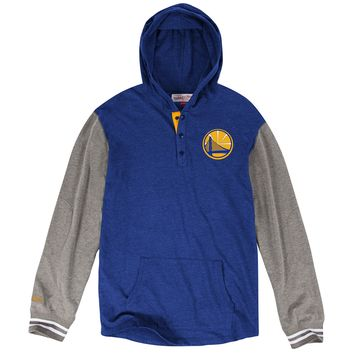 Golden State Warriors Blue Mid Season Mitchell and Ness Pullover Hoodie