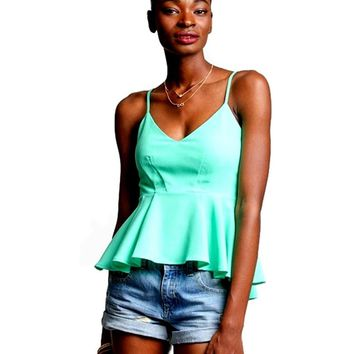 Sleeveless Peplum Top, Jade