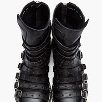 Gareth Pugh Black Buckled Heavy Biker Boots for men | SSENSE
