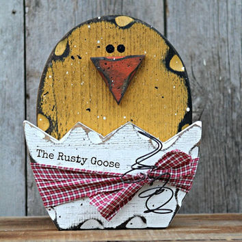 Easter Decor, Spring Chick, Easter Chick, Rustic Easter, Farmhouse Easter, Wood Chick, Primitive Easter, Broken Egg Chick, Cracked Egg Chick