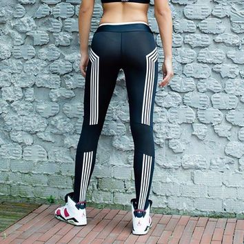 Slim Leggings Autumn Stripes Print Classics Sportswear [11475813958]