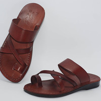 Brown leather slippers handmade shoes brown shoes for men sandals Jerusalem sandals leather slippers Jesus sandals