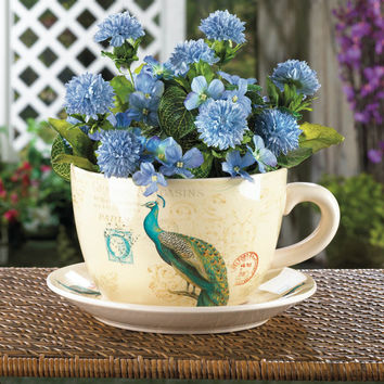 Garden Planters Large, Planter Pots, Personalized Balcony Peacock Teacup Planter