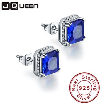 JQUEEN 3.8ct sapphire-jewelry 925 sterling silver earrings Princess Cut blue ear rings Brincos Hot Sale birthday gift for women