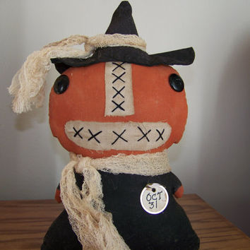 Primitive Grungy Pumpkin Witch Fabric Shelf Sitter/Doll for Fall and Halloween