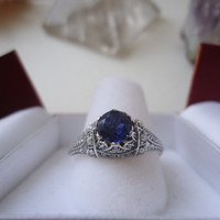 Holy Matrimony Victorian Blue Sapphire Solitaire Fine Jewelry Handmade Gothic Steampunk Christian Faith Engagement Wedding ring