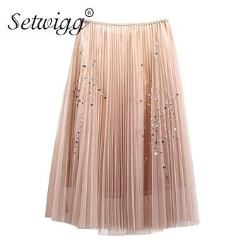SETWIGG Sweet Star Sequined Solid Layered Tulle Long Pleated Skirts Elastic Waist A-line Mesh Below Knee Spring Skirts SG906