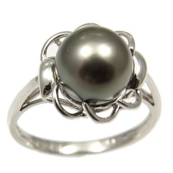 8.80MM GENUINE TAHITIAN PEARL RING SET IN SOLID 14K WHITE GOLD